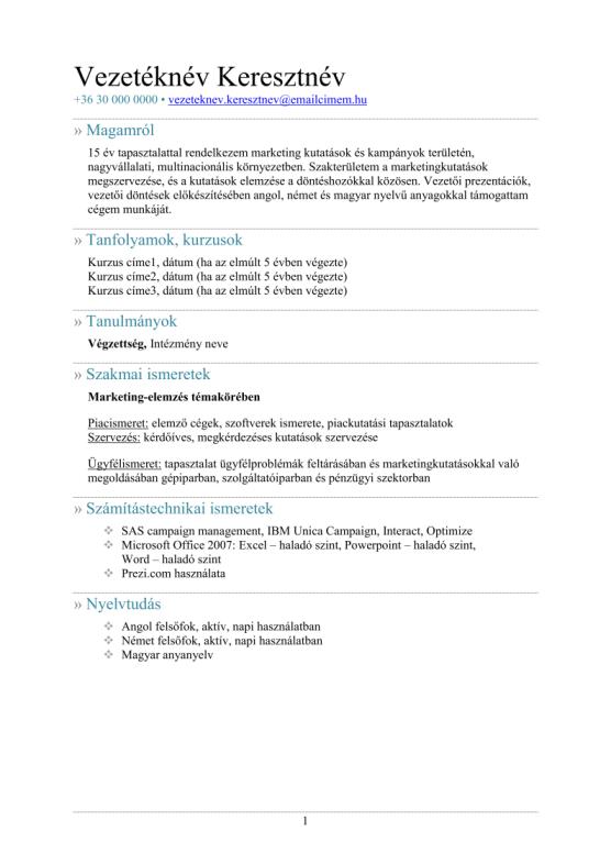 önéletrajz prezentáció Önéletrajz minták – JobAngel önéletrajz prezentáció